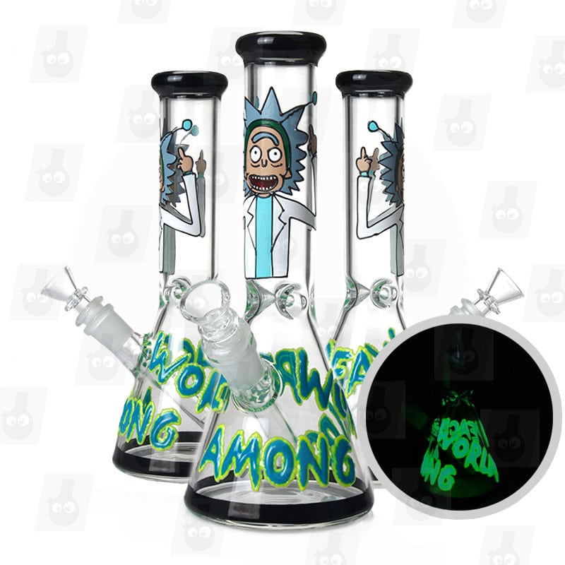 10 inch rick and morty themed glass piece black alien