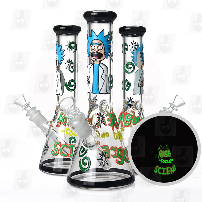 10 inch rick and morty themed glass piece black