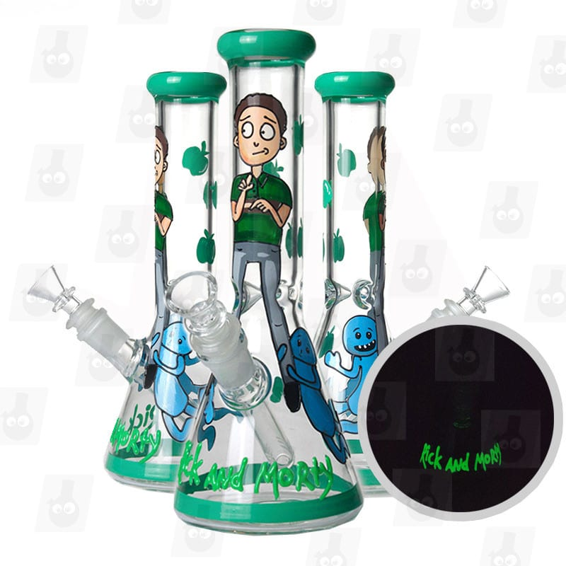 10 inch rick and morty themed glass piece green