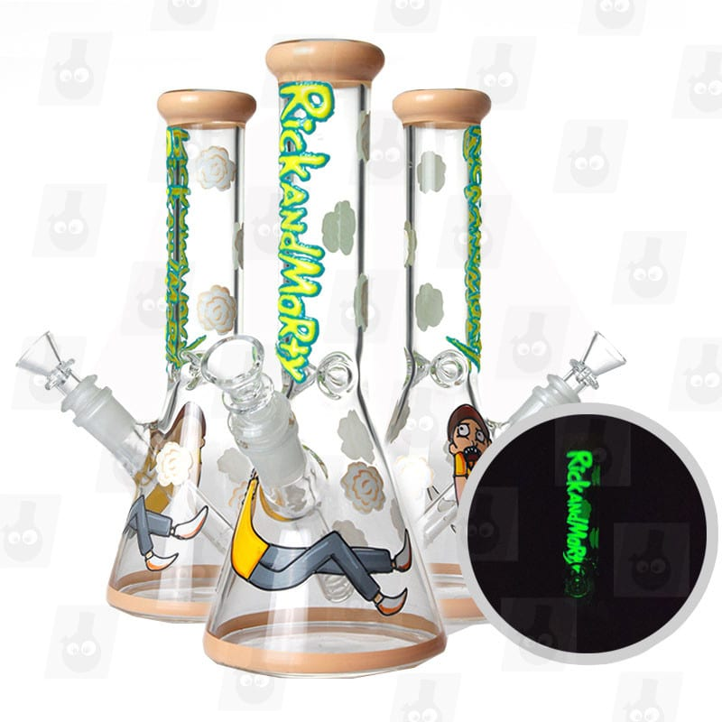 10 inch rick and morty themed glass piece