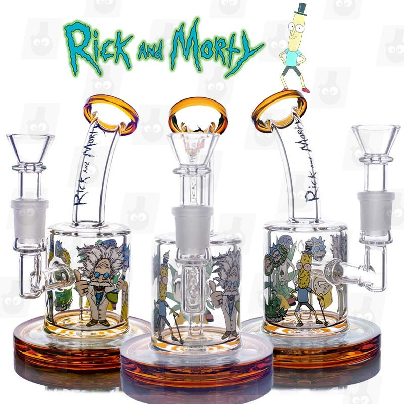 Rick and Morty Amber Mini Bong_right all