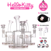 Little Kitty Pink – 6 inch Small Hello Kitty Perc Glass Bong bundle