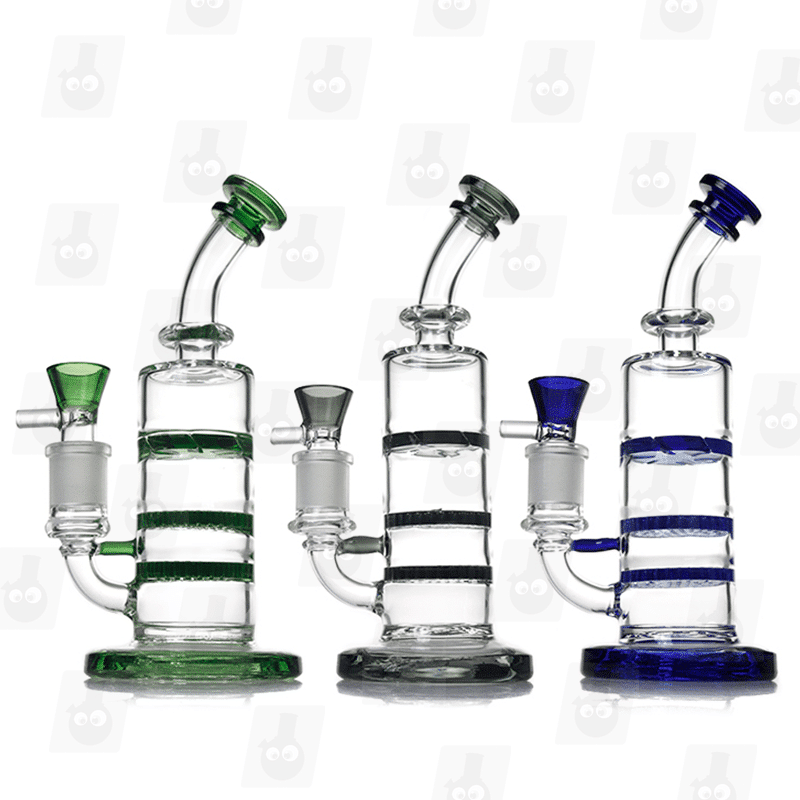 Triple Threat 3 Colors 8.5 Inch Colored Triple Perc Glass Bongs