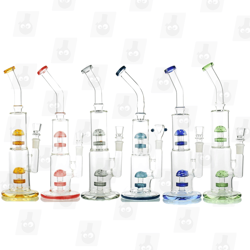 Holy Mushroom 6 Colors 14 Inch Dual Percolator Glass Bongs
