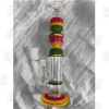 Triple Comb Red 14 Inch Triple Colored Perc Glass Bongs