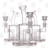 Baby Pinky 6 Inch Triple Colored Pink Perc Glass Bong